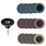Bestgle 2 inch Quick Change Roll Lock Sanding Discs Surface Polishing Conditioning Disc with Roloc Disc Pad Holder for Die Grinder Surface Rust Paint Removal, 15 Pcs