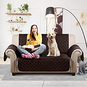 """Auralum Reversible Quilted Sofa Furniture Protector for Kids Pets Couch Cover Anti Slip Cover with Strap ,66"""" x 65"""",Sofa, Chocolate/Beige."""