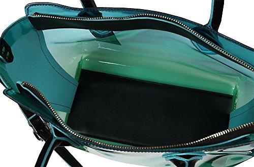 Tasche 2-in-1 Grün Schwarz Weiß Transparent