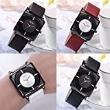 Mens Wrist Watch,POTO Clearance PU Leather Strap Transparent On Sale Alloy Dress Analog Quartz Watch Square Gift Watches RY-740