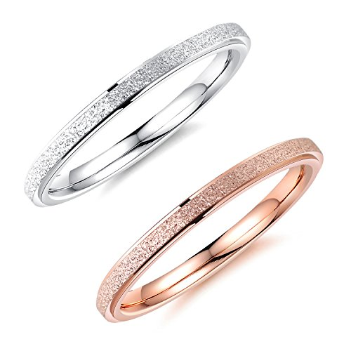 MgTree 2mm Rose Gold and Silver 2PCS a Set Stainless Steel Sand Blast Finish Engagement Rings for Women Girls, Sizes 5 to 8 (8)