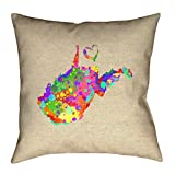 ArtVerse Katelyn Smith West Virginia Love Watercolor 18'' x 18'' Outdoor Pillows & Cushions UV Properties + Waterproof and Mildew Proof