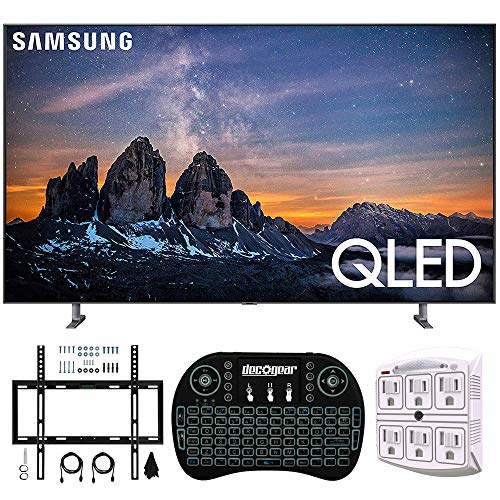 Samsung QN75Q80RA 75″ Q80 QLED Smart 4K UHD TV (2019 Model) – (Renewed) w/Flat Wall Mount Kit Bundle for 45-90 TVs + 2.4GHz Wireless Backlit Keyboard Smart Remote + 6-Outlet Surge Adapter