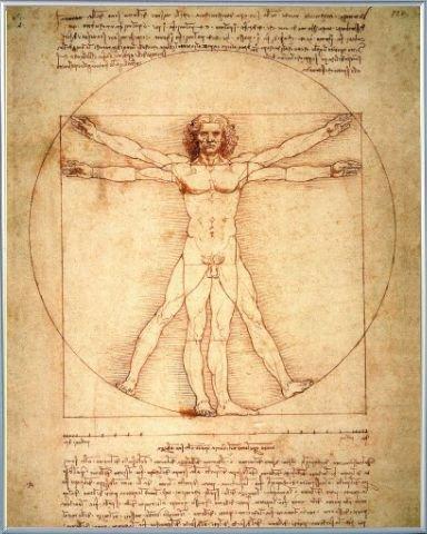 Leonardo Da Vinci Poster Art Print and Frame Plastic - Vitruvian Man, C. 1490