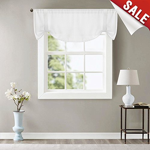 Valance White 18 inch Adjustable Tie Up Shade for Windows 54 inch Wide Curtain - Window Valance Adjustable