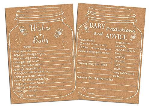 100 Sugar Vibes Jar Baby Shower Games, Baby Shower Game Set, Gender Reveal, Double-Sided, 2 Different Games, 100 Games Total (Predictions_Wishes)