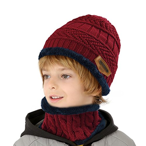 muco Kids Winter Hat Warm Thick Beanie Cap Scarf For Boys Girls Knit Outdoors Ski Beanies