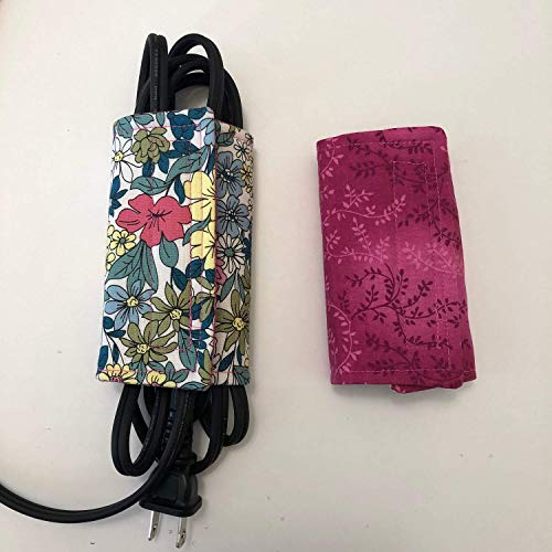 (QTY 1- LARGE - Handmade REVERSIBLE prints -Green Teal Floral; Hot Pink Vinces, Cord Wraps, Cable Wraps, Laptop cord wrap, Computer cord wrap)