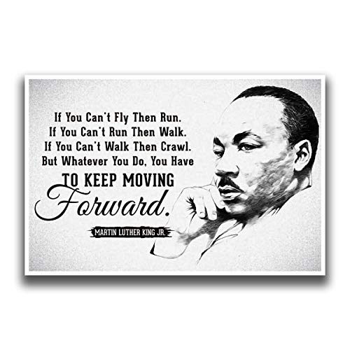 JSC455 Keep Moving Forward Martin Luther King Jr Quote Poster Drawn Portrait | 18-Inches By 12-Inches | Motivational Inspirational | Premium 100lb Gloss Poster Paper (Track Frame Leader)
