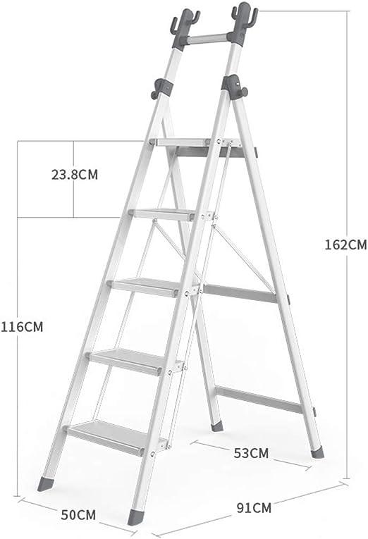 HAOHAODONG Escalera de Perchero Escalera Multifuncional Plegable de Espiga Acolchada Cuatro escaleras de Almacenamiento de Escalera de Cinco Pasos para Interiores,1,5stepsladder: Amazon.es: Hogar