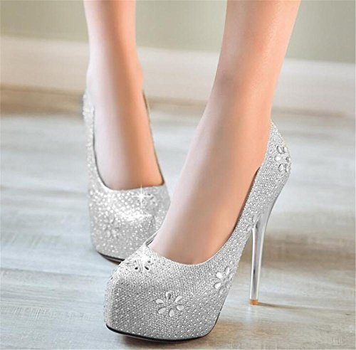 40 Donna Glitter A Club Décolleté Da 35 Con Scarpe Silver Spillo Tacco Strass Stiletto Party Fz5OcaaPq