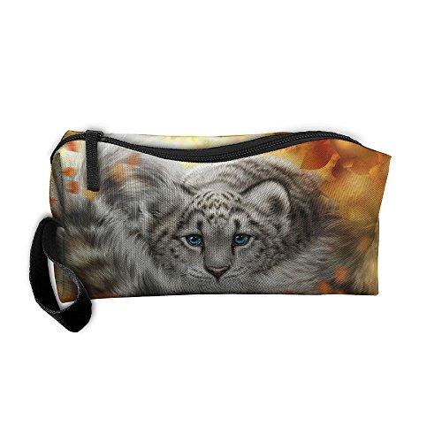 Cosmetic Bags Brush Pouch Makeup Bag Snow Leopard Zipper Wallet Hangbag Pen Organizer Carry Case Wristlet -
