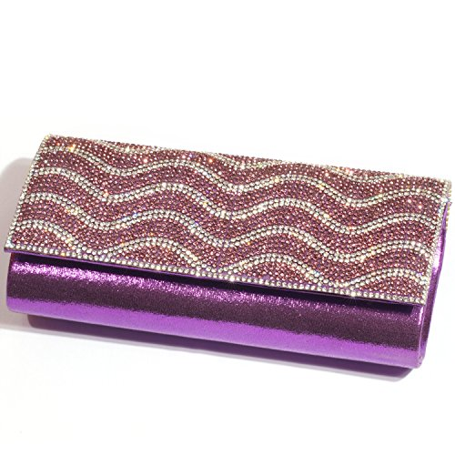 Purses Wavy Bags women Rhinestone Purple Clutch Evening Digabi Pattern Crystal T1PwAA
