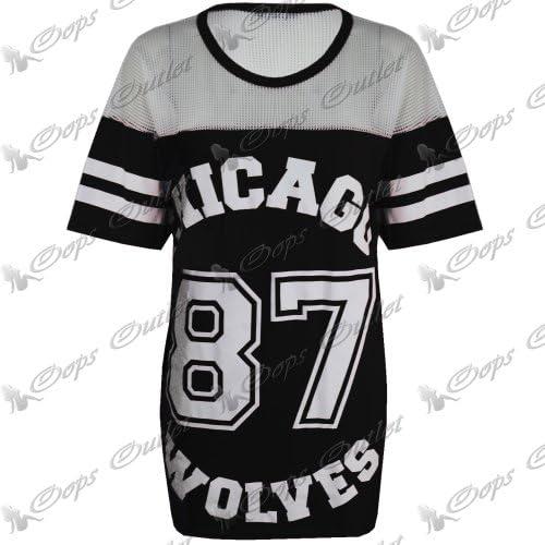 Damska koszulka baseballowa Chicago Wolves (87), duży rozmiar, długi top: Odzież