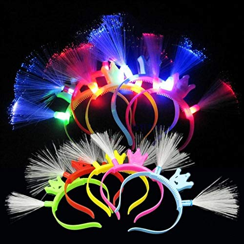 Fiber-optic LED Flashing Crown Headband, Lot of 12 Headbands, Assorted Colors by Mammoth Sales