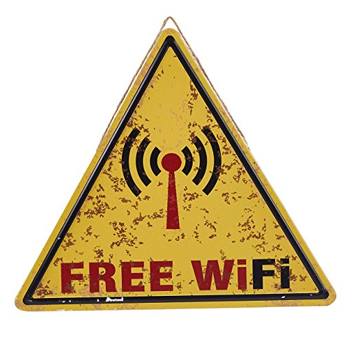 n - Decorative Vintage Metal Free Traffic Warning Style Sign for WiFi Hotspot, Business, Coffee Shops, Restaurants, 13.5 x 11.8 inches ()