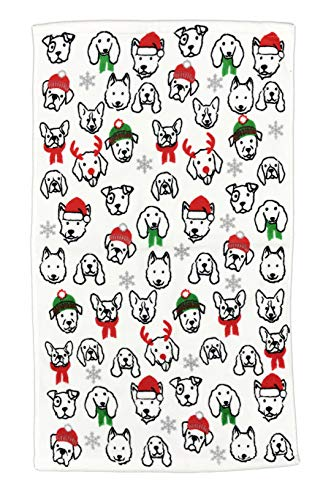 (Happy Holidays Festive Multi Dog Breed Faces Adorned in Santa Hats Winter Scarves & Reindeer Antlers 100% Cotton Novelty Christmas Bathroom Towel (1, Hand)