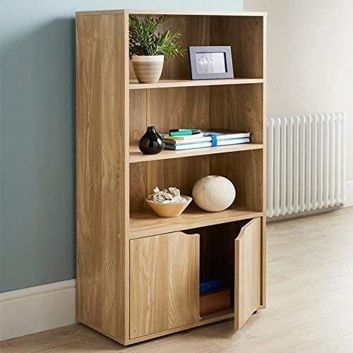 Turin Bookcase Oak Finish Storage Unit