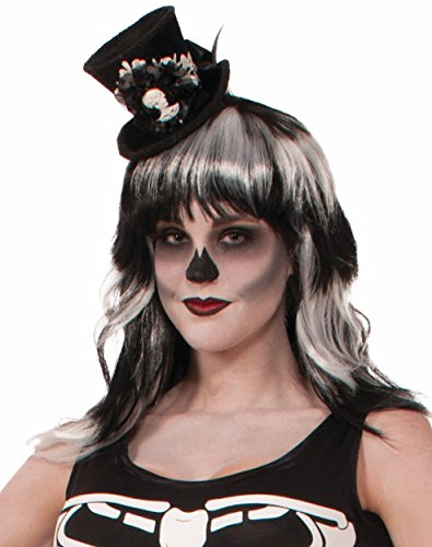 Forum Novelties Women's Skeleton Mini Top Hat, Black, (Mini Skeleton Top Hat)