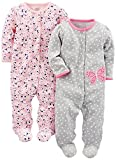 Simple Joys by Carter's Girls' 2-Pack Cotton Footed Sleep and Play, Grey Butterfly/Pink Floral, 3-6 Months