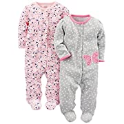 Simple Joys by Carter's Baby Girls' 2-Pack Cotton Footed Sleep and Play, Gray Butterfly/Pink Floral, 6-9 Months