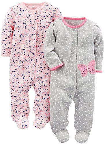 Simple Joys by Carter's Girls' 2-Pack Cotton Footed Sleep and Play, Gray Butterfly/Pink Floral, 0-3 Months