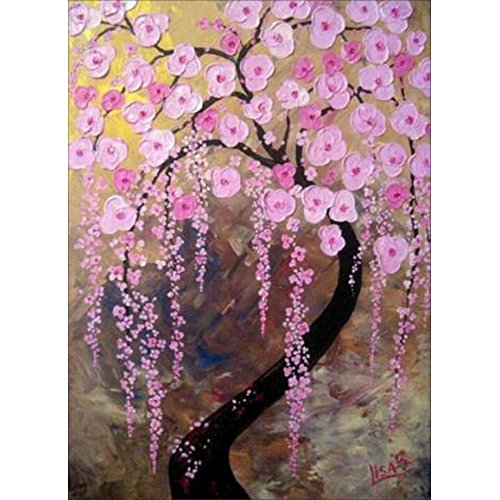 ing by Number Kits Full Drill Rhinestone Embroidery Cross Stitch Pictures Arts Craft for Home Wall Decor,Peach Blossom-12x16In ()