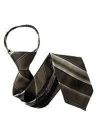 Brown Boys Stylish Pattern Zipper Necktie