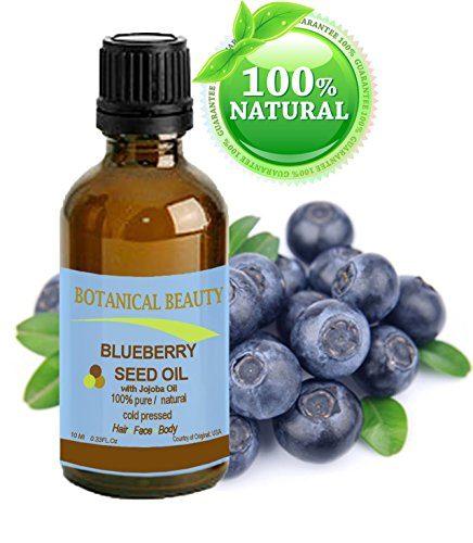 BLUEBERRY SEED OIL. 100 % Natural Cold Pressed Carrier oil. 0.33 Fl.oz.- 10 ml. For Skin, Hair, Lip and Nail Care. It is one of natures most potent antioxidants. Rich in vitamin A, B complex, C, E,