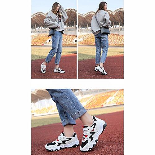 Black Shoes Help Size Korean Movement Color LVZAIXI Version Student Shoes CN36 shoes Plate EU36 Black High cozy Women's Leisure Girl UK4 EWcREqBw4