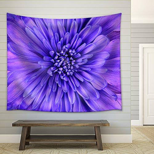 Detail of Blue Chrysanthemum Flower Head Closeup Background Fabric Wall