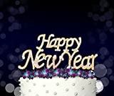 Happy New Year, New Year Celebration Cake Topper, Crystal Rhinestones on Gold Metal, Party Decorations, Favors