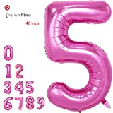 Amooy DiZi Pink Number Balloons Pink Party Decorations 40 Inch Foil Mylar Birthday Balloon Large Number 5
