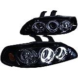 Spec-D Tuning 2LHP-CV923G-TM Honda Civic Dual Halo Led Glossy Black Projector Headlights