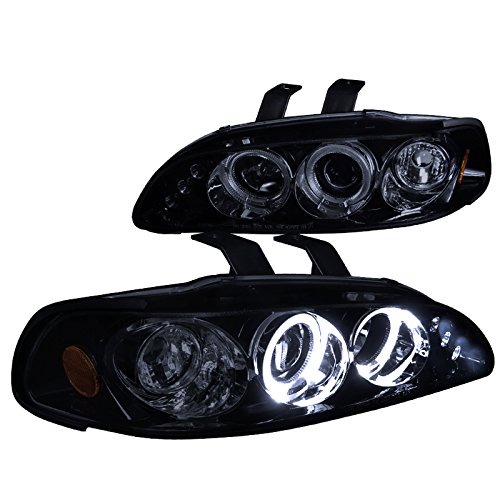 Spec-D Tuning 2LHP-CV923G-TM Honda Civic Dual Halo Led Glossy Black Projector Headlights (Civic Dual Halo Projector Headlights)