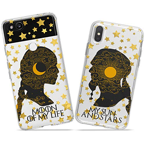 Wonder Wild Game of Thrones Couple Case iPhone Xs Max X Xr 10 8 Plus 7 6s 6 SE 5s 5 TPU Clear Gift Apple Phone Cover Print Protective Double Pack Silicone Daenerys Khal Drogo Relationship Matching]()