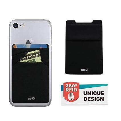 d808eebc6637 WUOJI Phone Card Wallet - Ultra-Slim Self Adhesive Double Secure Cell RFID  Blocking Phone Pocket,Credit Card Holder Card Sleeves Phone Wallet Sticker  ...