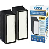 VEVA 8000 Elite Pro Series Air Purifier Replacement Value Pack - 2 True HEPA Filter & 8 Premium Activated Carbon Pre Filters (2+ Year Supply)