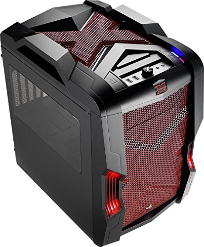 AeroCool MicroATX/MiniITX Gaming Chassis with USB3.0 and Fan Controller Cases StrikeX Cube-RED Black and Red by AeroCool