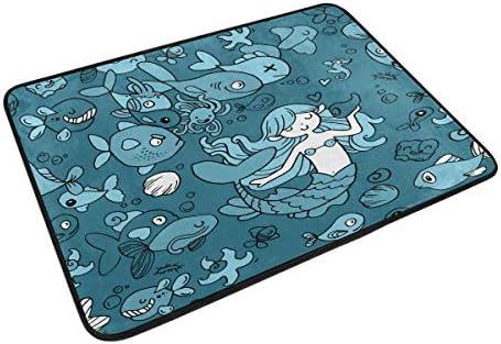 バスマット 玄関マット 人魚姫と海洋生物 貝 クジラ タコ ふわふわ 浴室マット お風呂マット 高密度 足ふき 吸水 洗面所 マット 速乾 おしゃれ 赤ちゃん 人気 台所