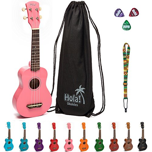 Hola! Music HM-21PK Soprano Ukulele Bundle with Canvas Tote Bag, Strap and Picks, Color Series, Pink Case Maple Fingerboard