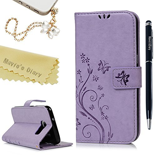 Butterfly Floral Wallet - Galaxy S7 Edge Case - Mavis's Diary Embossed Wallet Fashion Floral Butterfly PU Leather Magnetic Flip Cover Card Holders & Hand Strap for Samsung Galaxy S7 Edge with Bling Dust Plug & Pen - Violet