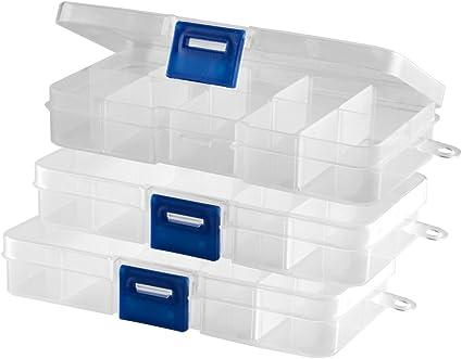 Caja transparente (vacía) con 10 compartimentos con tapa y cierre rápido, 3 unidades: Amazon.es: Belleza