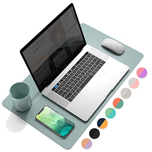 "YSAGi Multifunctional Office Desk Pad, Ultra Thin Waterproof PU Leather Mouse Pad, Dual Use Desk Writing Mat for Office/Home (23.6"" x 13.7"", Glaucous Green+Orange)"