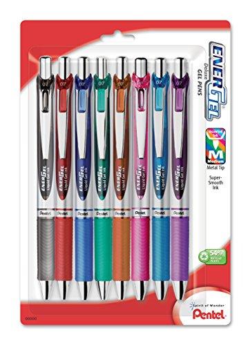 Pentel EnerGel RTX Retractable Liquid Gel Pen, Medium Line, Metal Tip, Assorted Ink, 8-Pack (BL77BP8M) (Pentel Metal Pen)