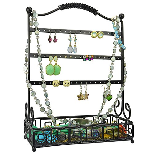 Black Metal 27 Pair Earrings Jewelry Organizer Hanger Display Stand w/ Bottom Accessories Mesh Basket (27 Metal)
