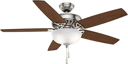 Casablanca Indoor Ceiling Fan with light and pull chain control – Concentra Gallery 54 inch, Brushed Nickel, 54023