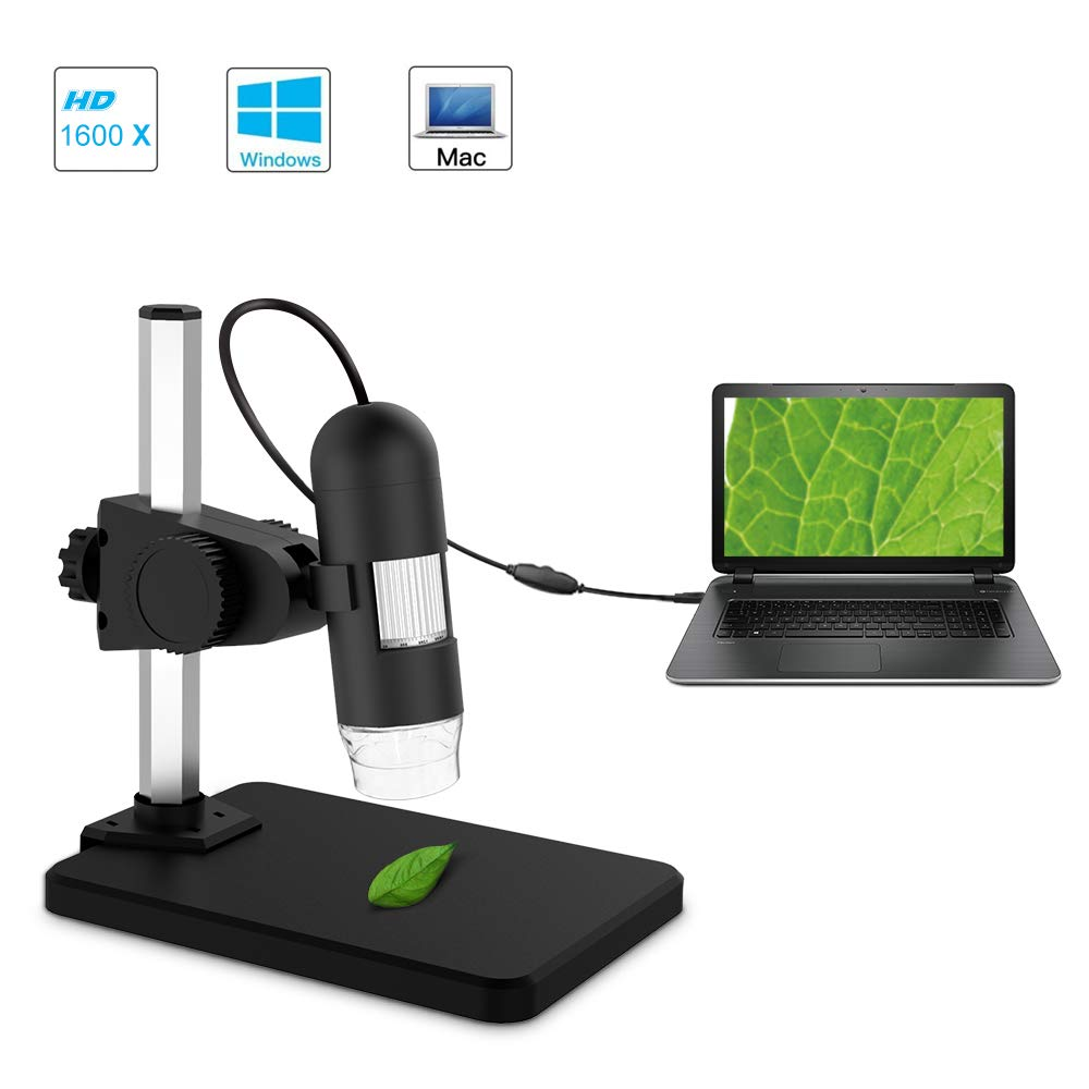 USB Digital Microscope, Depstech 1 to 1200X Magnification Endoscope, 5X Zoom Mini Inspection Camera 8 Adjustable LED Lights, Working Win7/8/10, Linux & Mac PC