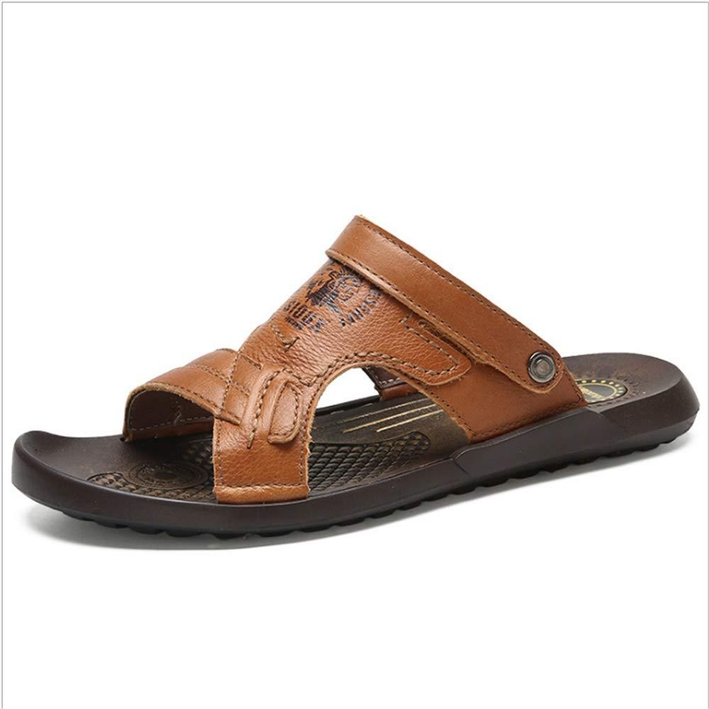 Wangcui Sandalen Leder Schuhe Rutschfeste Dual Freizeit Strand Schuhe Leder Atmungsaktive Sandalen und Hausschuhe (24,0-27,0) cm (Farbe : Rot, Größe : 40 2/3 EU) Braun 65f95f