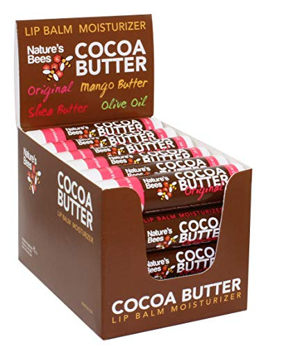(Nature's Bees Cocoa Butter Lip Balm, Original Flavor, 24 Pieces, Made in The USA, with Beeswax, Cocoa Butter, Coconut Oil, Vitamin E, Aloe, and Sunflower Oil)